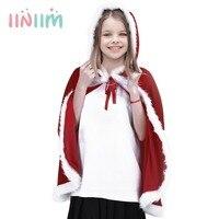 Kış Moda Çocuk Kız Kadife Noel Bayan Santa Uzun Pelerin Kukuletalı Pelerin Giysileri Tatil Kostüm Cosplay Parti