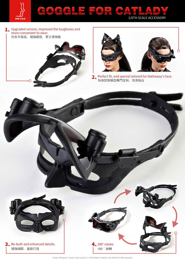 """TOW-FACE TF001 1//6 Catwoman Goggles Glasses Model Black for 12/"""" Female Figure"""