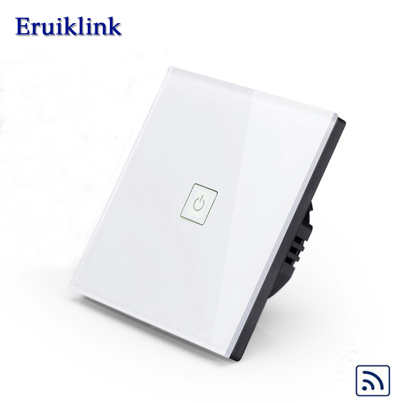 Eruiklink EU Wall Light Touch Remote Control Switch, 1 Gang 1 Way Crystal Glass Switch Panel For Home,RF433 Smart Wall Switch smart home eu standard 1 gang 2 way light wall touch switch crystal glass panel waterproof and fireproof