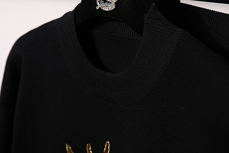 Nouveau argent Lâche Deux De Femmes 2018 Automne Paillettes Femelle Tricot Tricoté Haren Occasionnel Chandail Pièces Costume Hiver Or Pantalon dYwPYU