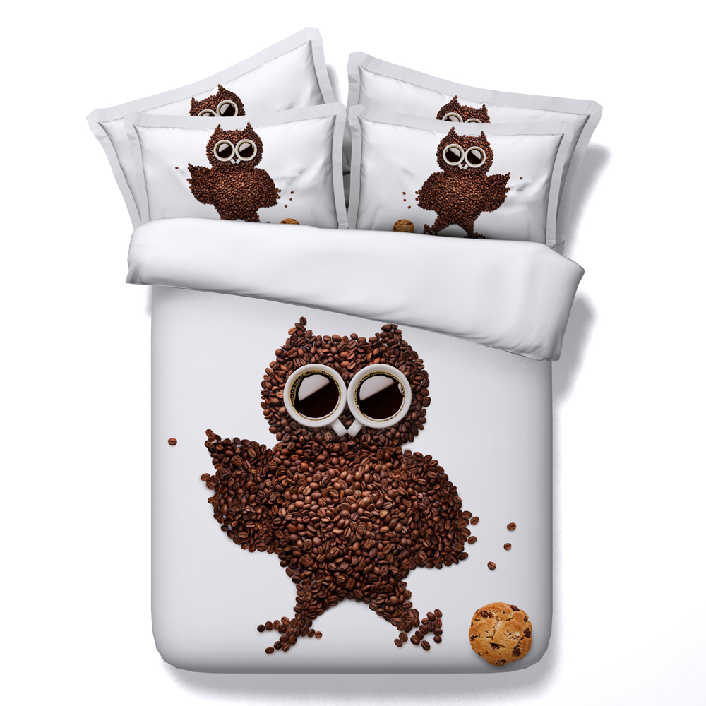 Funny bed sheets - Jf 143 Funny Chocolate Beans Shaped Cartoon Owl Bedding Queen Size Kids Adult Both Available