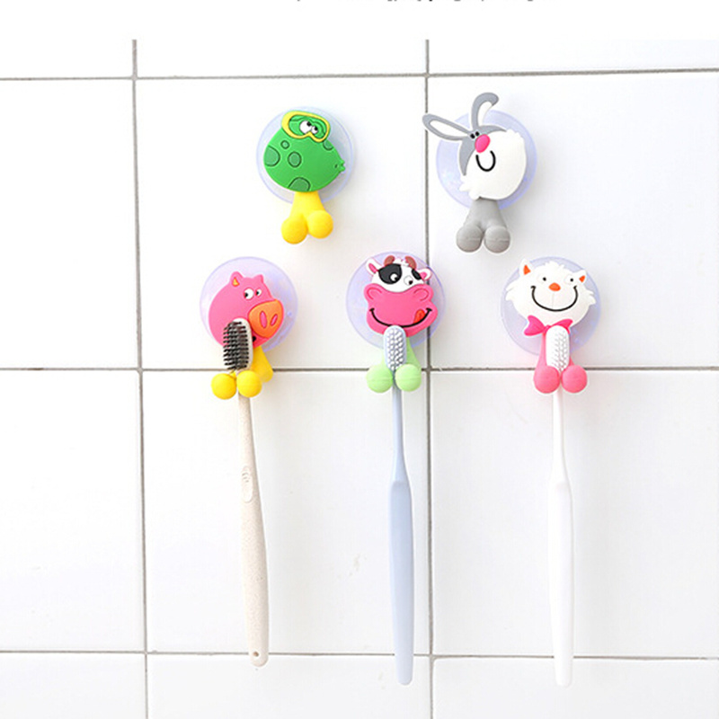 Cartoon Suction Cup Toothbrush Holder Animal Cute Minion Hello Kitty Bathroom Accessories Set 5 colors Wall Suction Holder Tool image