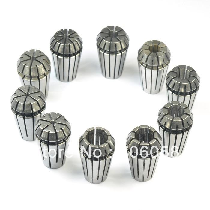 ER16 Precision Hardened Collect Holder Set Collet Set Tool 2mm-10mm 65 High Manganese Steel 9pcs/Lot