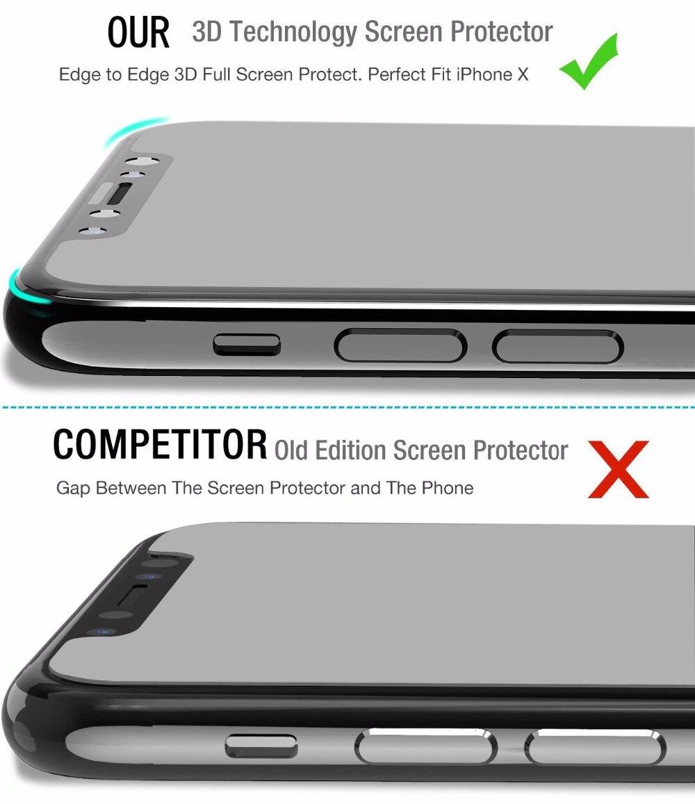 För Apple iPhone X 10 Skärmskydd härdat glas Hel täckning 3D 4D - Reservdelar och tillbehör för mobiltelefoner - Foto 2