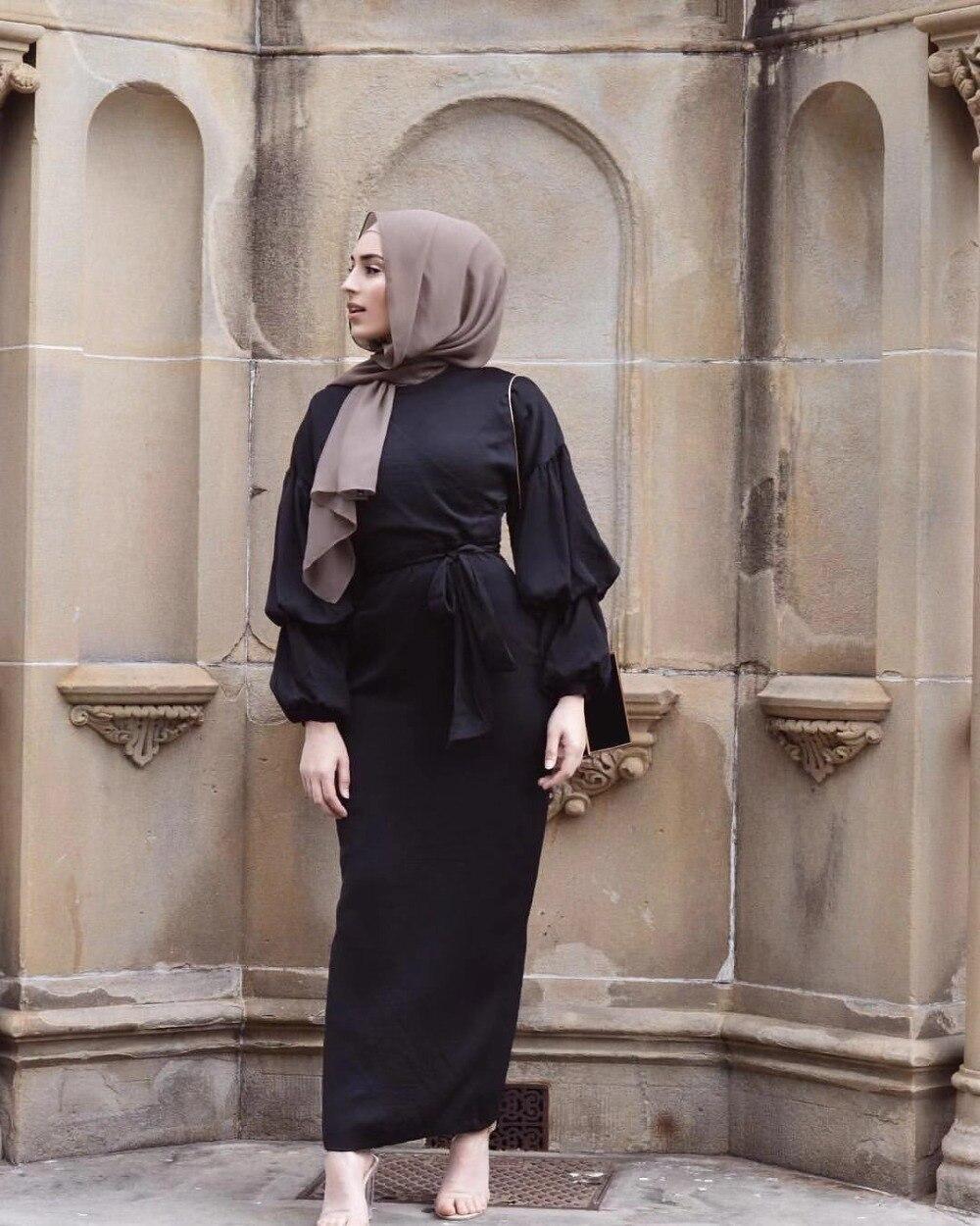 Elegant Muslim Abaya Maxi Dress Nida Cardigan Puff Sleeve Long Robe Gowns Jubah Kimono Ramadan Islamic Kaftan Worship Service