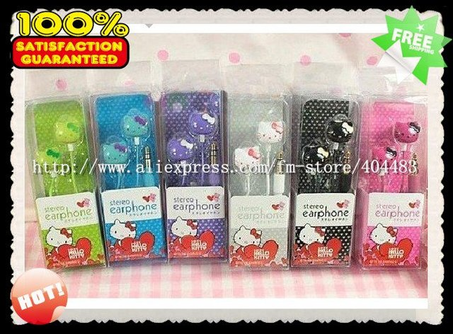 [Wholesale:20pcs/lot] Hot Selling Earphone Hello Kitty in-ear Headphone Headset & Free Shipping