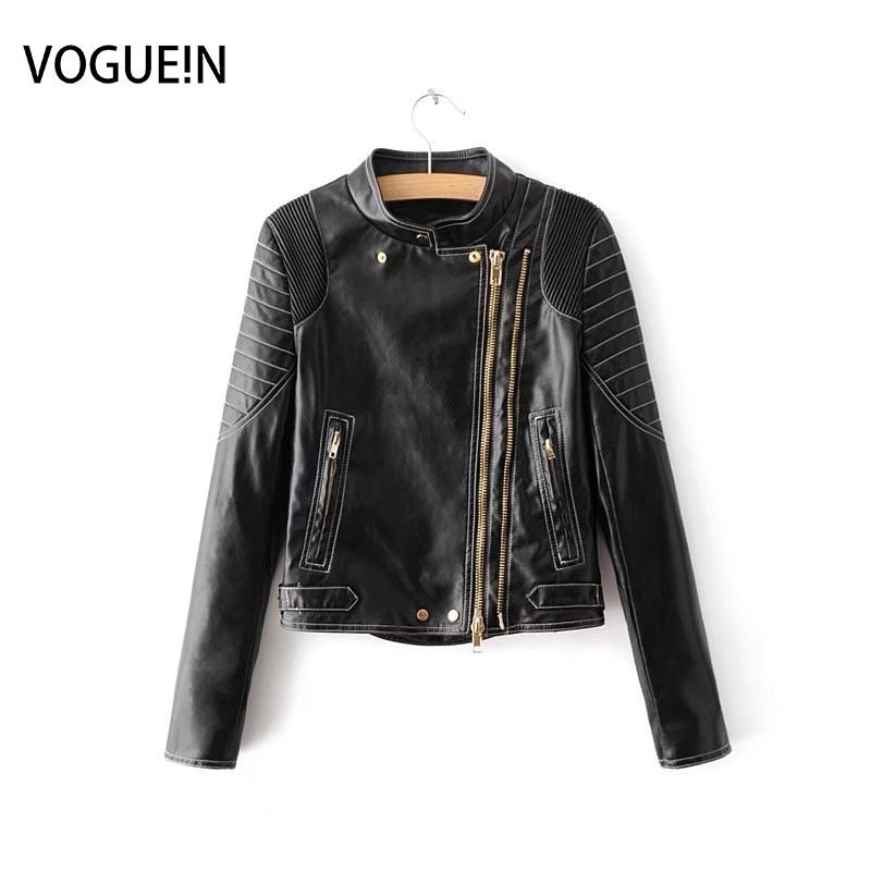 VOGUEIN New Womens Black Golden Zippers Faux   Leather   Motorcycle Bomber Jacket Outerwear Coat Wholesale