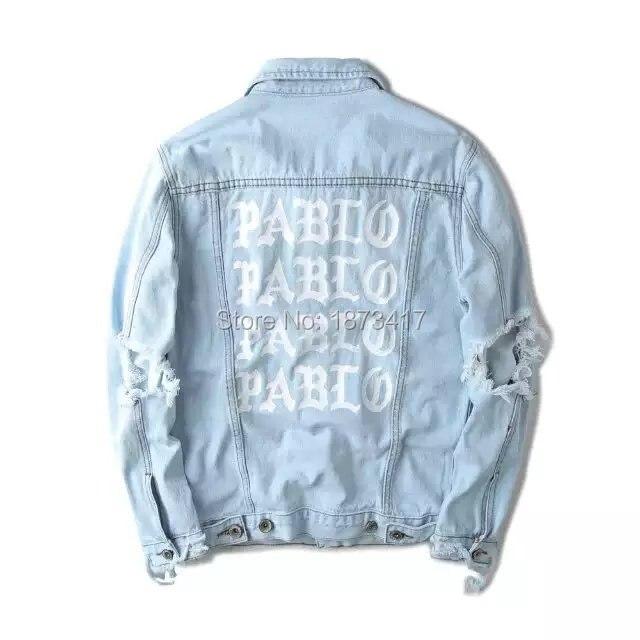 424 Kanye West Pablo Denim Jackets Men Hip Hop Yeezus Tour Brand Clothing Streetwear Jeans Jackets