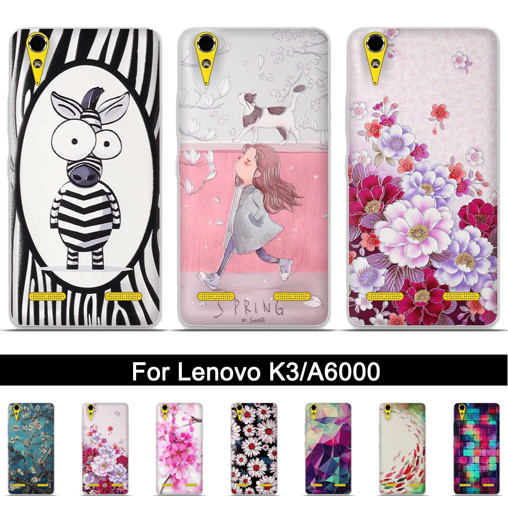 Soft TPU Case For Lenovo A6010 A6000 a <font><b>6010</b></font> a 6000 Back Phone Cover Case For Lenovo K3 k 3 K30-T 3D Relief Print Silicone Shells image