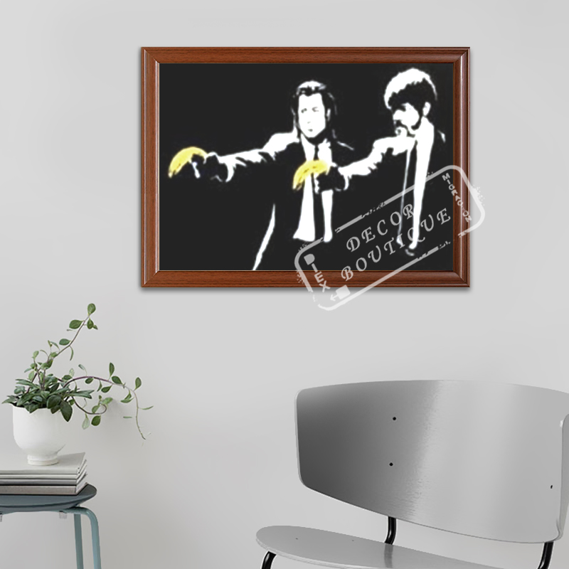 Pop Art Banana Pulp Fiction, 2004 Banksy Street Art Decorative Kraft Poster Canvas Painting Wall Sticker Home Decor Gift image