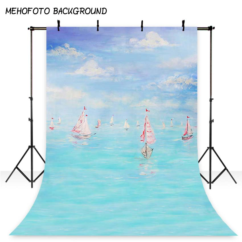 MEHOFOTO Polyester Photography Backdrop Boat Blue Sea Baby Birthday Backdrops Newborn Photo Background for Photo Studio S-1200 newborn photography background blue sky white clouds photo backdrop vinyl balloons scattered petals backgrounds for photo studio