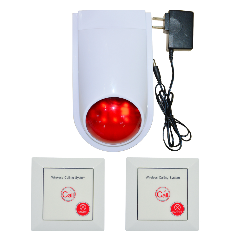 (1 Set) Wireless Calling System Emergency Button To Louder Speaker 110DB Strobe Siren 86mm Wall-mounted Switch Security Alarm