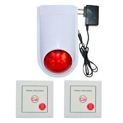 (1 zestaw) bezprzewodowy system wywołujący przycisk awaryjny do głośniejszego głośnika 110DB syrena stroboskopowa 86mm przełącznik ścienny alarm bezpieczeństwa