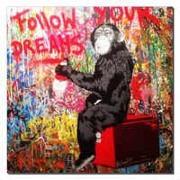 Figura Decorativa Imagem Canvas Art Macaco Escrita Siga Seu Sonho Pintura Em Canvas Graffiti Rua Arte para Sala de estar