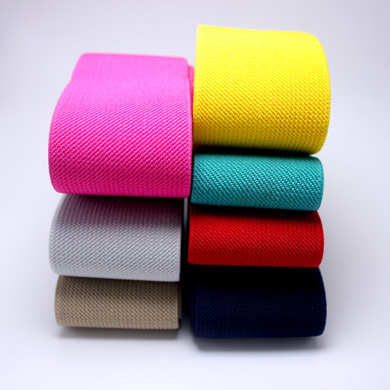 5CM Wide  High Quality Durable Pants Skirt Belt Color Elastic Band / Twill Elastic Tape  Latex Elastic Tape Rubber Band