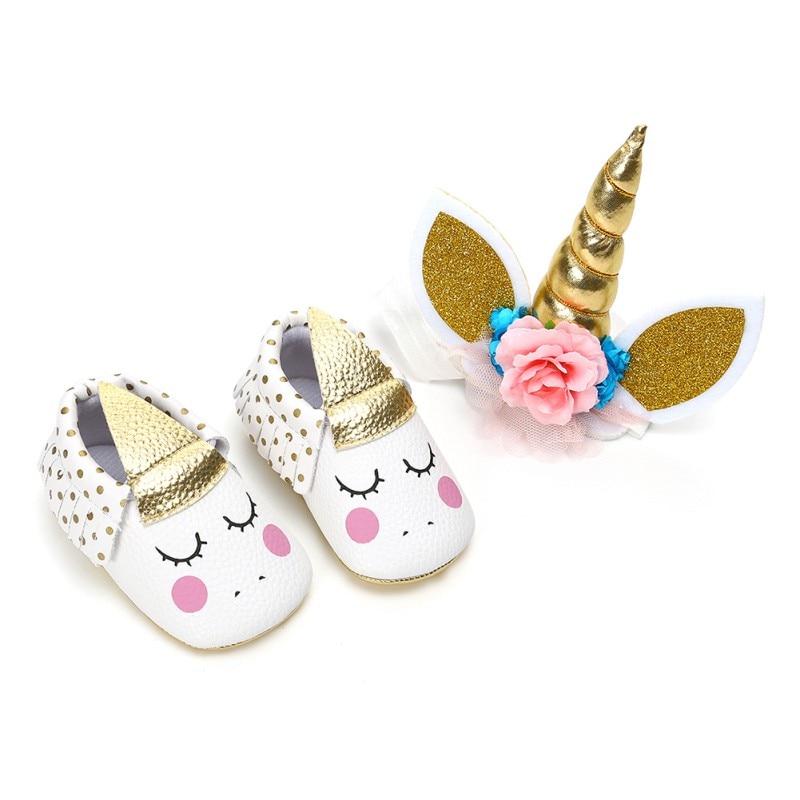 2 Piece Set Cute Baby Girl Tassel Crib Shoes + Unicorn Horns Cake Topper Decor Infant Prewalker Halloween Birthday Party Gift