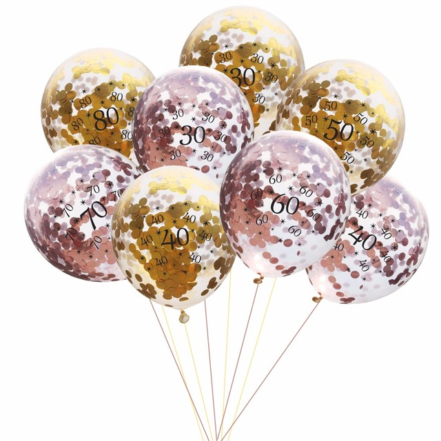 10pcs 12inch Clear Confetti Balloon Latex Ballon Happy 30 40 50th Birthday Balloons Wedding Decoration Event Party Supp