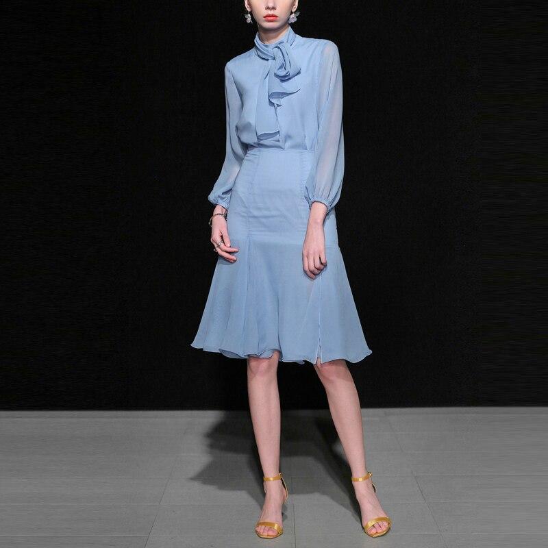 Весенние элегантные комплект из 2 предметов для женщин 2019 синий с длинным рукавом шифон Топы корректирующие и высокая талия миди ЮБК