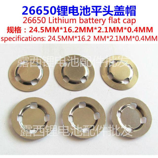 25pcs/lot 26650 lithium battery anode material 26650 stainless steel cap welding battery flat cap accessories