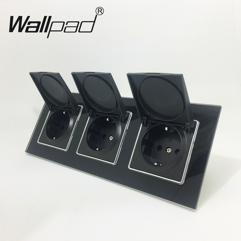 EU Socket Dust Cap CE Wallpad Luxury Black Crystal Glass EU Standard Triple Frame 16A Plug EU Wall Socket with Cap Claws Mount eu
