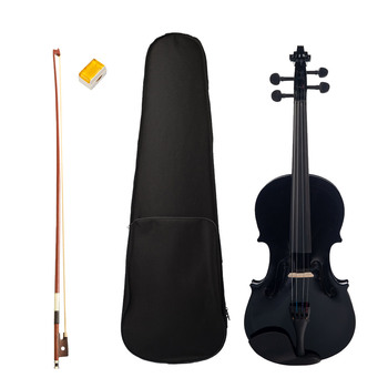 Acoustic Violin 4/4 Full Size Wood Fiddle with Bow Rosin Carry Case Black