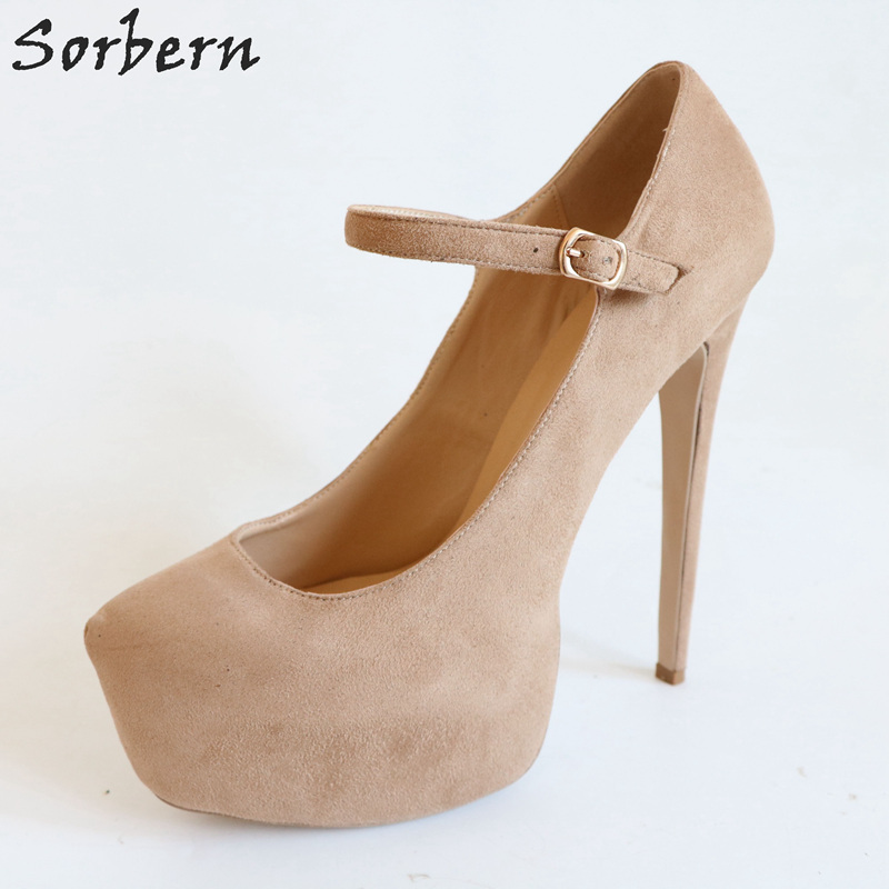 Sorbern Fashion Mary Janes Women Pumps High Heels Platform Shoes Evening Party Shoes Autumn Shoes Women Big Size Nude Heels doratasia 2018 spring autumn shallow women mary janes pumps big size 34 43 high wedges comfortable platform shoes woman