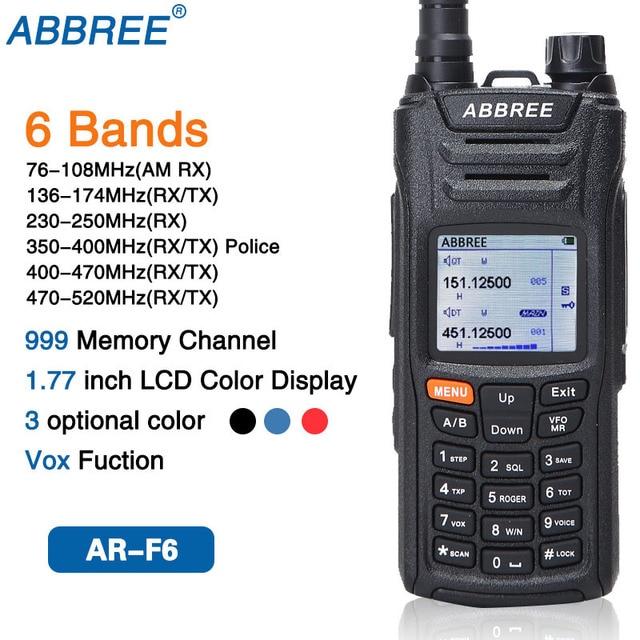 AR F6 ABBREE 6 أربطة شاشة عرض مزدوجة الاستعداد 999CH متعدد الوظائف VOX DTMF SOS شاشة LCD ملونة جهاز الاتصال اللاسلكي