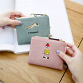 2016 free shipping  fashion new women coin purse PU Square fresh zip short cute women mini wallet