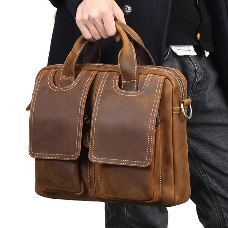 Men Bag Top 100% Genuine Leather Men Shoulder Bag Male Crossbody Messenger Bags Vintage Laptop Business Briefcases Handbags Tote zznick 2018 new men s messenger bag men genuine leather business bags laptop tote briefcases crossbody bag shoulder handbags
