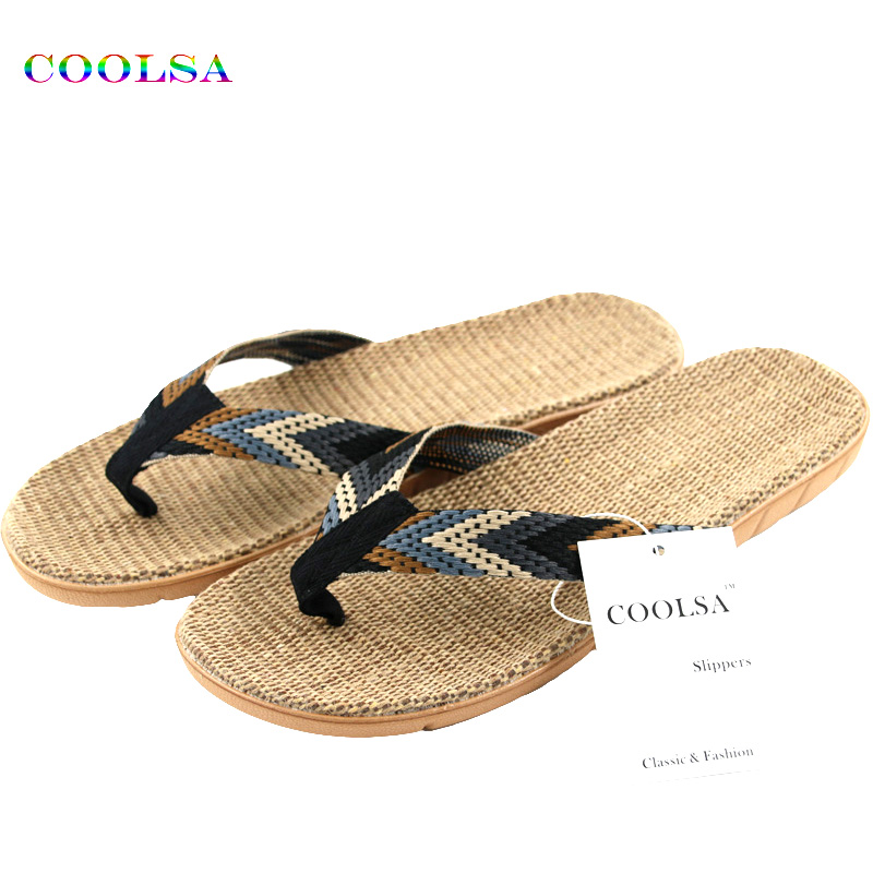 New Summer Men Linen Flip Flop Striped Ribbon Sandals Flat EVA Non-Slip Linen Slides Home Slipper Man Casual Straw Beach Shoes coolsa new summer linen women slippers fabric eva flat non slip slides linen sandals home slipper lovers casual straw beach shoe page 3