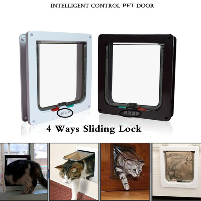 Pet Product Intelligent Access Control 4way Locking Indoor Outdoor Door Kit Cat Dog Flap Wall Mount For Pets Safe