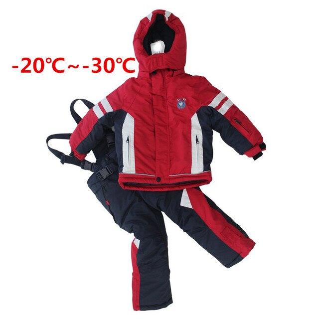 Детские Лыжные Костюмы Зимние Мальчики Одежда Устанавливает Открытый Ветрозащитный Лыжная куртка + Биб Брюки 2 шт. Мальчик Лыжные набор ski005