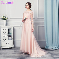 3 4 Long Sleeves Peach Pink Long Chiffon Evening Dresses Floor Length Lace Applique Formal Evening