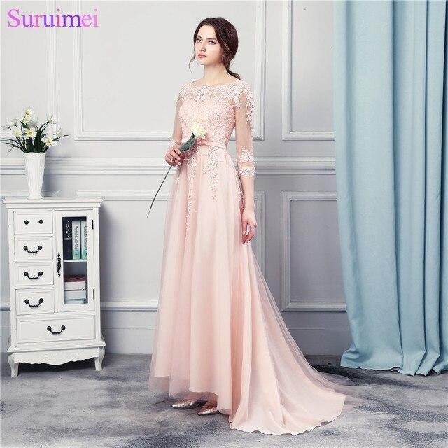 ebb17934617 3 4 одежда с длинным рукавом розовый персик Длинные шифон Вечерние платья  пол Длина Кружево