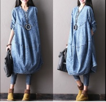 2016 women's Spring new arrival 100% cotton denim fashion  loose a-line  dress