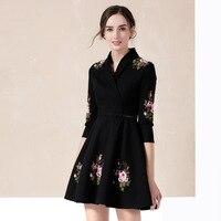 Mode bestickte blume floral formale frauen arbeiten dame ballkleid one piece-zeigen dress großhandel d2008