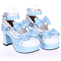 Female spring anime cosplay lolita shoes Sandals women heeled shoes bow high heels leather Princess platform shoes
