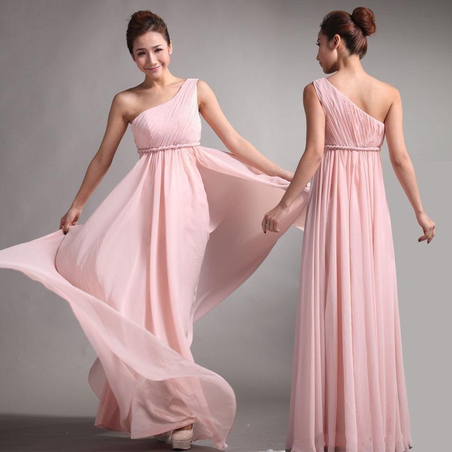 Vestidos Saudi Arabia Long   Bridesmaid     Dress   One Shoulder Pleats Maid of Honour   Dresses   With Sash Floor Length Prom Gown
