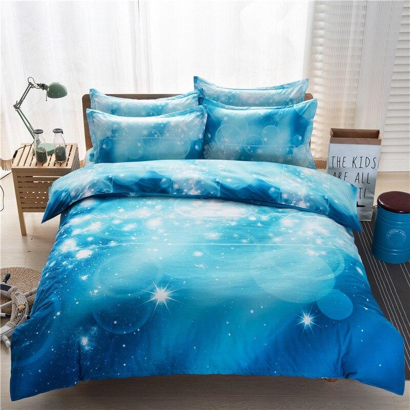 Cotone poliestere 3D galaxy stella starry sky Universe design a due letti queen lenzuolo set biancheria da letto copripiumino set di biancheria da letto