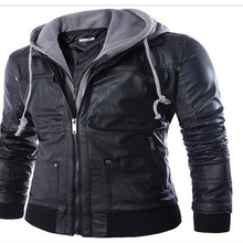 Hooded Winter Leather Jacket Men Slim Warm Mens washed Leather Motorcycle Biker Jackets Standing Collar Coat Outdoors parka