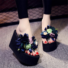 Flower Slides Women Flip Flop Shoes Woman Fashion 11/8/6CM High Quality Wedge Slippers Designers 2019 Sexy High Heels Mules Buty(China)