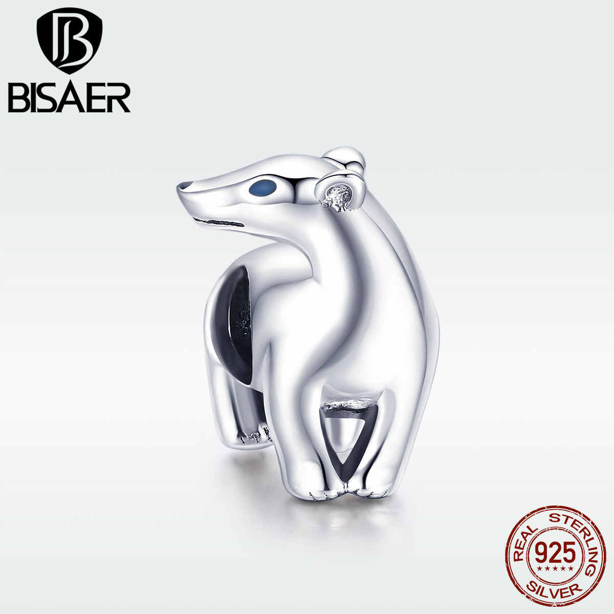 BISAER แท้ 925 Sterling Silver Polar Bear ลูกปัดสัตว์ Charms พอดีกำไลข้อมือผู้หญิงกำไลข้อมือเครื่องประดับ DIY ทำ EFC058