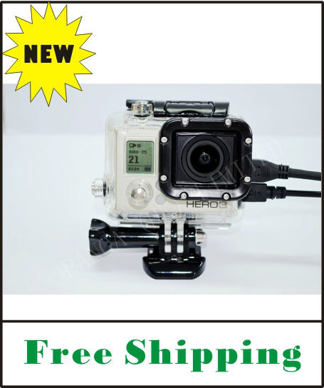 FREE SHIPPING Gopro Skeleton housing case with side open for gopro hero3