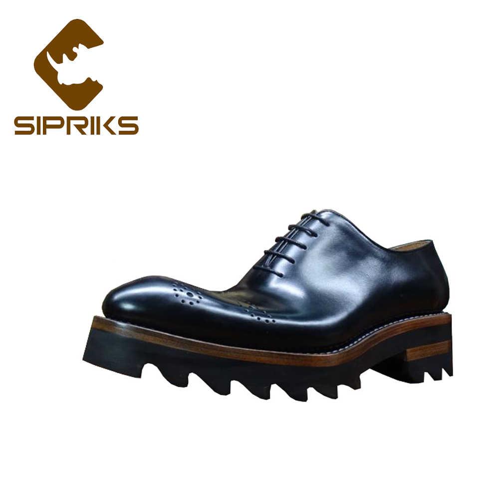 5525271e Sipriks hombre tallado piel de becerro Oxfords luz gruesa EVA suela Brogue  zapatos italiano a medida