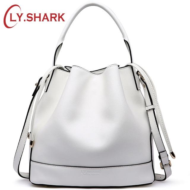 LY SHARK Luxury Handbags Women Bags Designer Genuine Leather Bucket Bag Summer Small Messenger Shoulder Crossbody