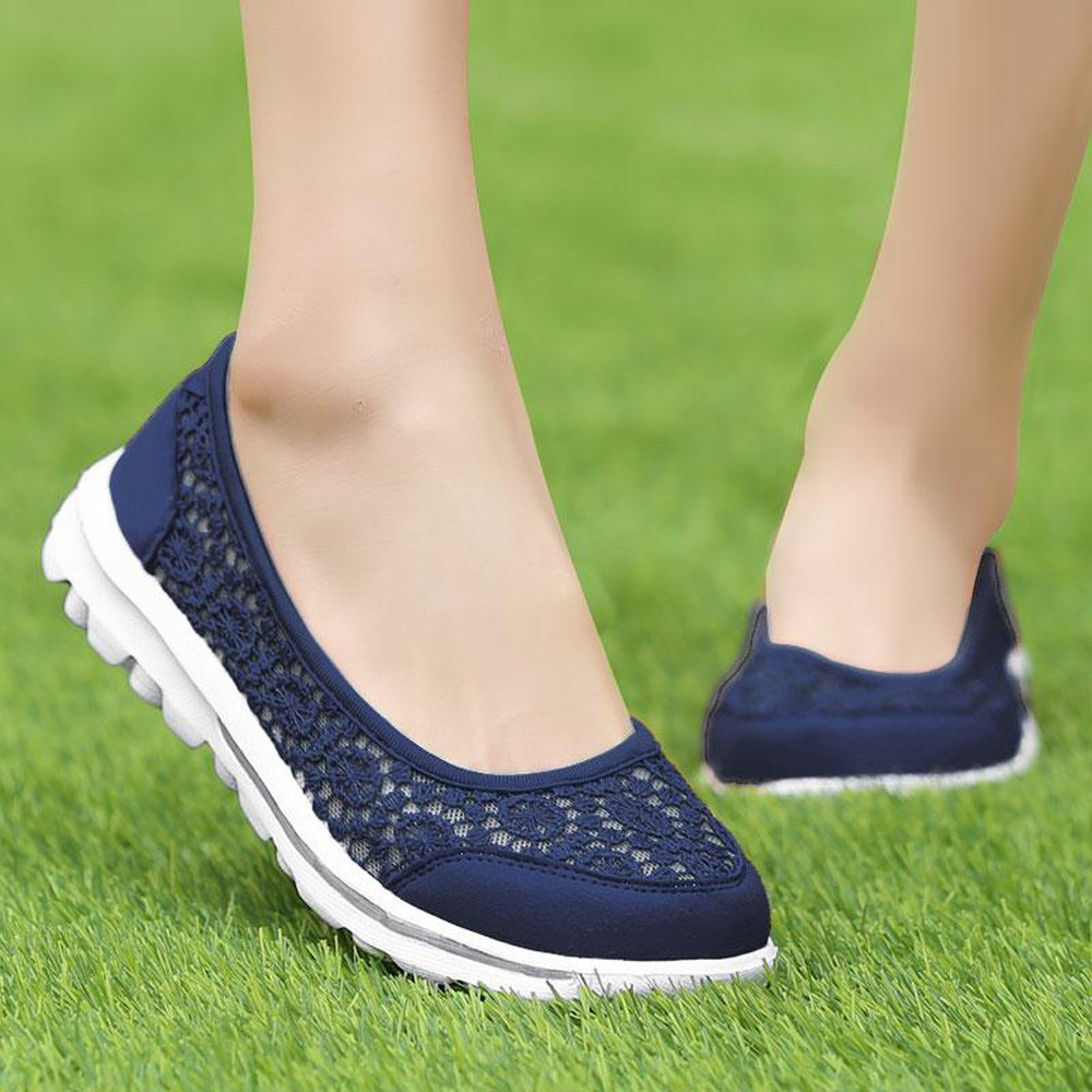 Women Sneakers Soft Shoes Mesh Fabric Flats Lace Shoes Running Shoes Comfortable Breathable Walking Driving Shoes #g2 kryte sandały na platformie