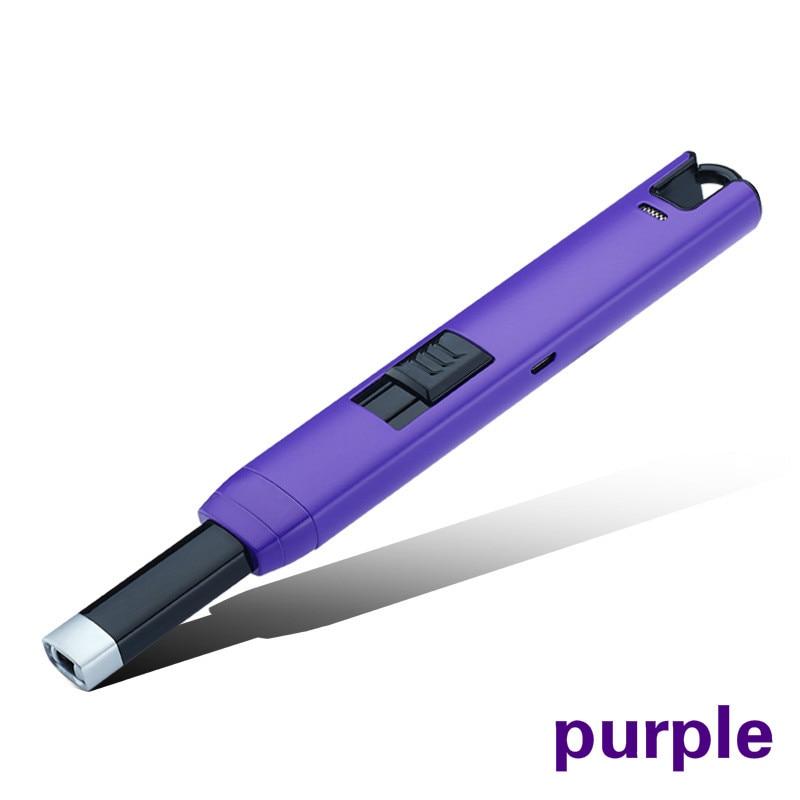 Boîtier métallique Longue USB Électrique arc cuisine ignitiog coupe-vent briquets, rechargeable impulsion léger Bougies et Feux D'artifice
