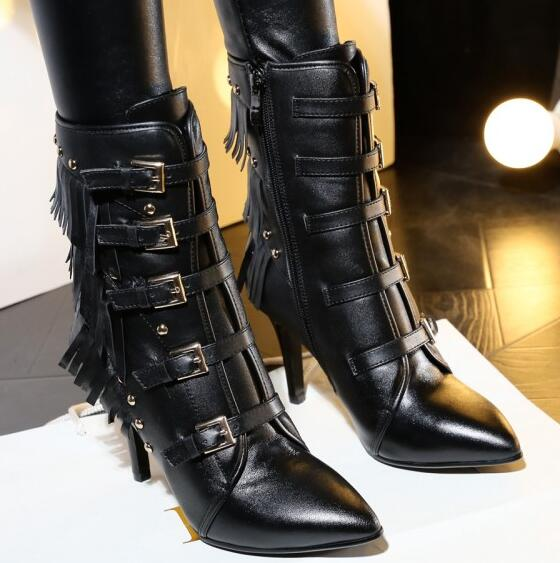 Women Autumn Winter Genuine Leather Thin High Heel Pointed Toe Rivets Side Zipper Buckle Fashion Ankle Boots Size 34-40 SXQ1006 autumn winter women thick high heel genuine leather buckle side zipper pointed toe fashion ankle martin boots size 34 39 sxq0902