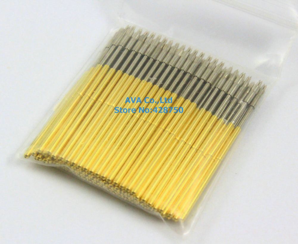 100 Pieces P50-A2 Dia 0.68mm Length 16mm Spring Test Probe Pogo Pin