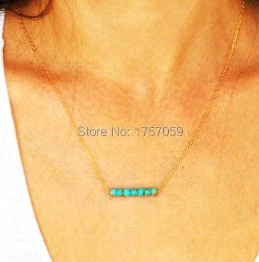 Türkis Halskette für Frauen Gold und Silber Farbe grüne Perlen - Modeschmuck - Foto 5